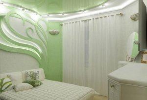 Дизайн маленькой спальни в зеленых тонах