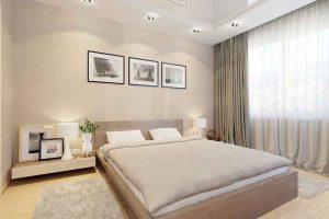 Богатый интерьер спальни в бежевых тонах
