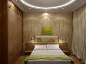Шкаф и кровать в интерьере спальни