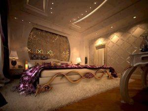 Роскошная спальня с точечными светильниками