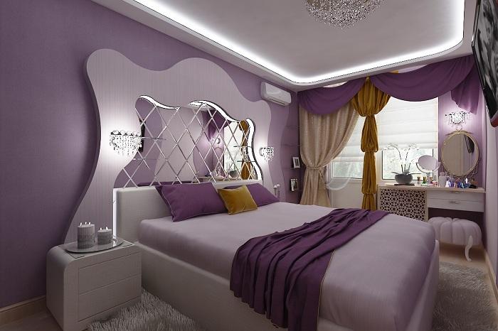 Кровать с зеркальным изголовьем