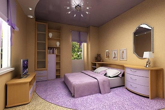 Стильная люстра в интерьере спальни