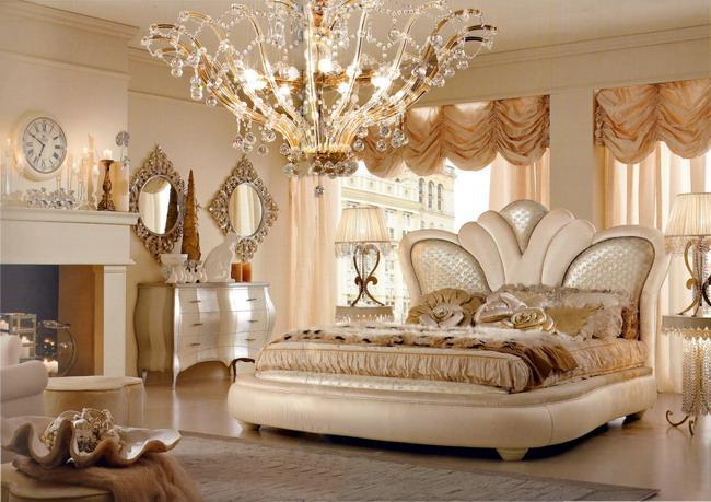 Белый гарнитур в спальне арт деко