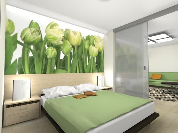 Крупные тюльпаны в интерьере спальни