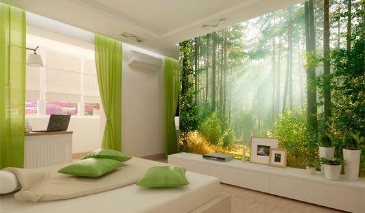 Спальня с лесным пейзажем