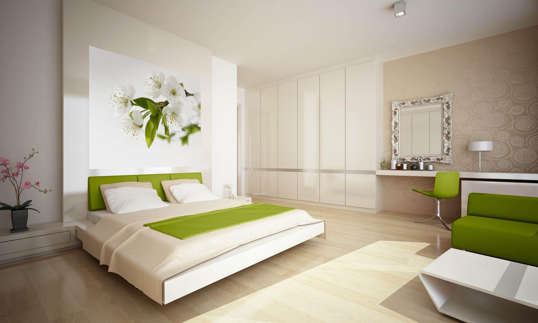 Дизайн спальни с цветочными фотообоями