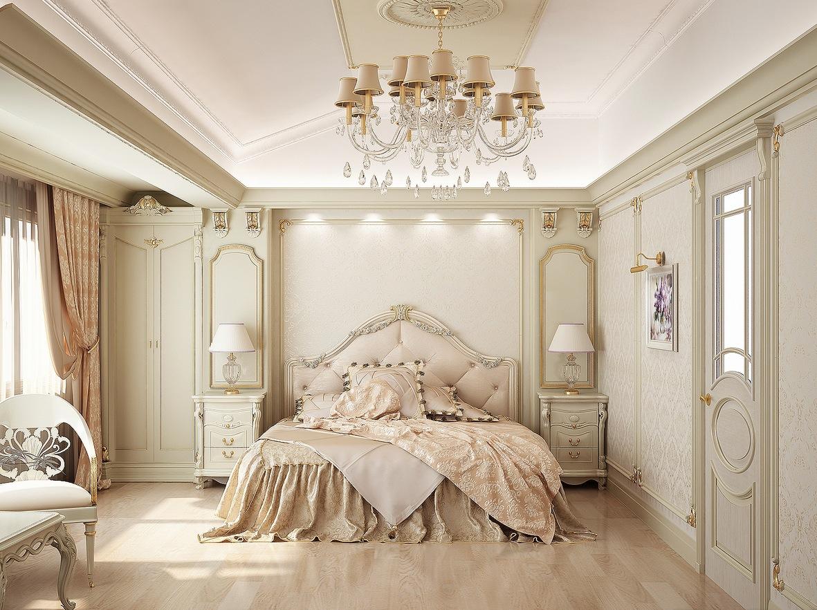Спальня с красивой люстрой