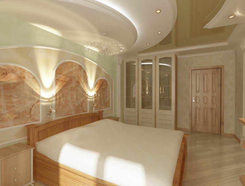 Светлый паркет в спальне классического стиля