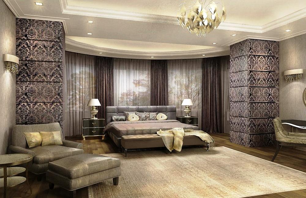 Большая спальня в серых тонах
