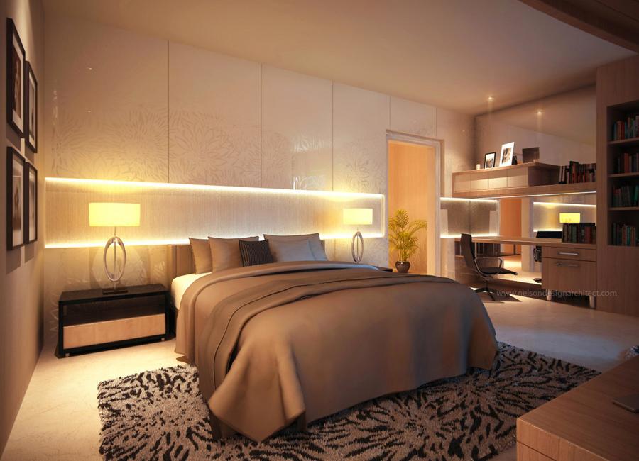 Кровать с боковыми светильниками