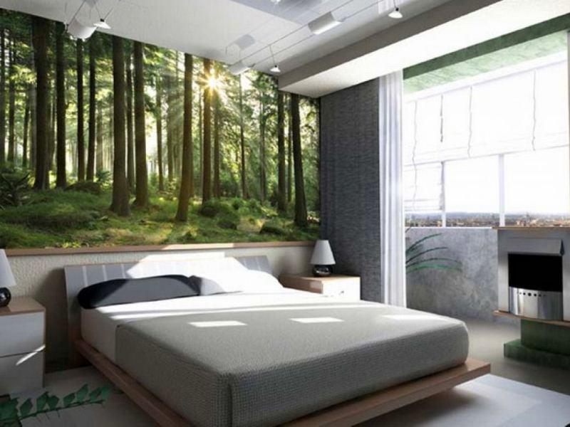 Лесной пейзаж в спальне
