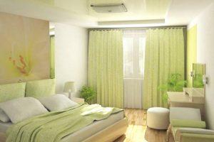 Интерьер с зелеными шторами