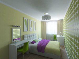 Спальня с тумбочкой и кроватью
