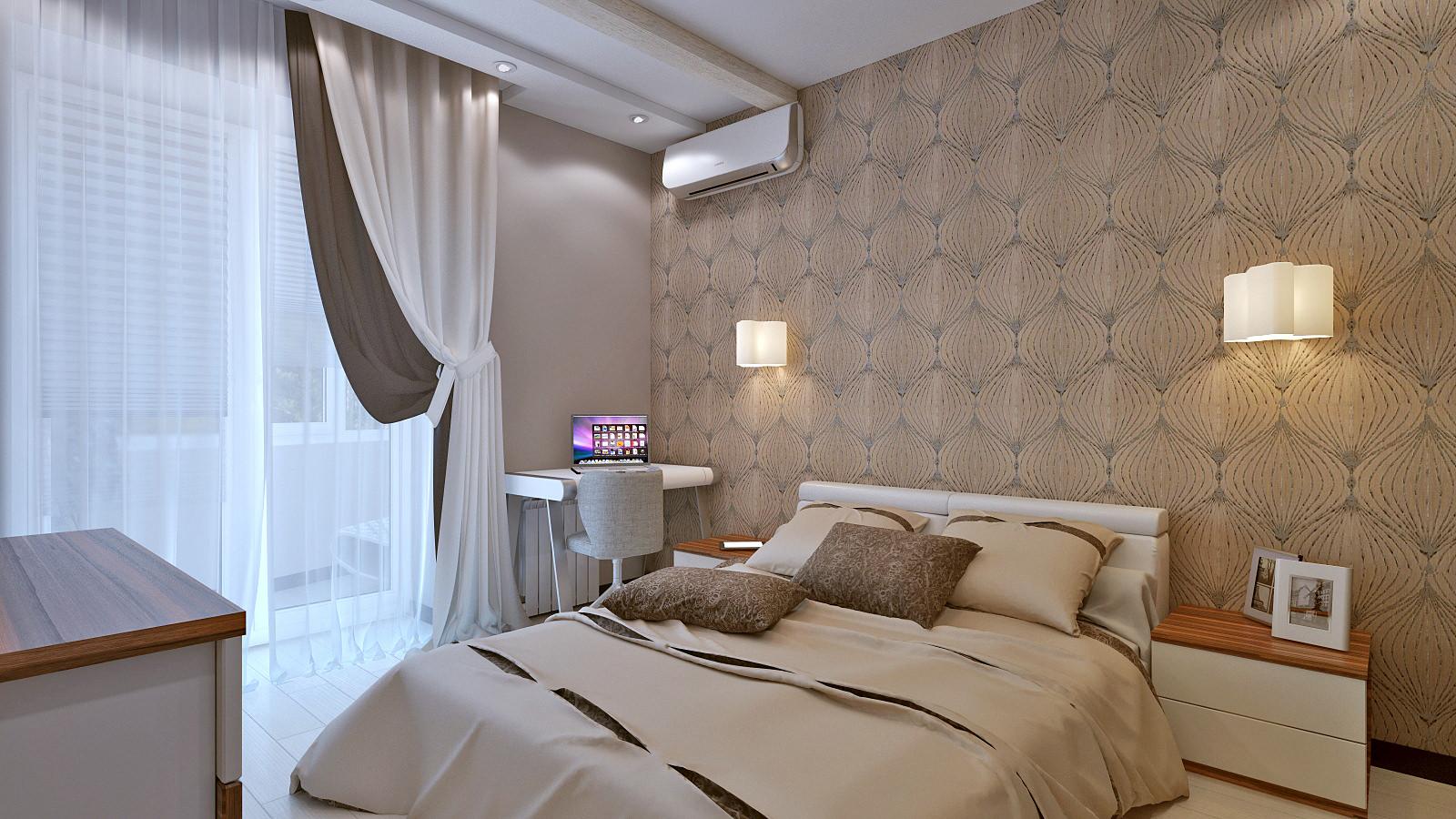 Спальня с настенными светильниками