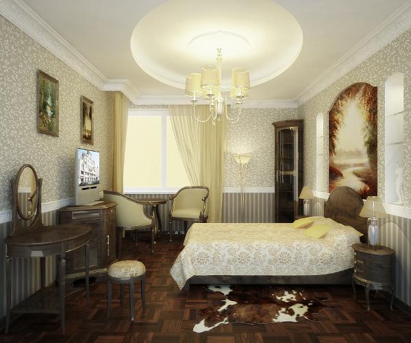 Классическая спальня с различными предметами мебели