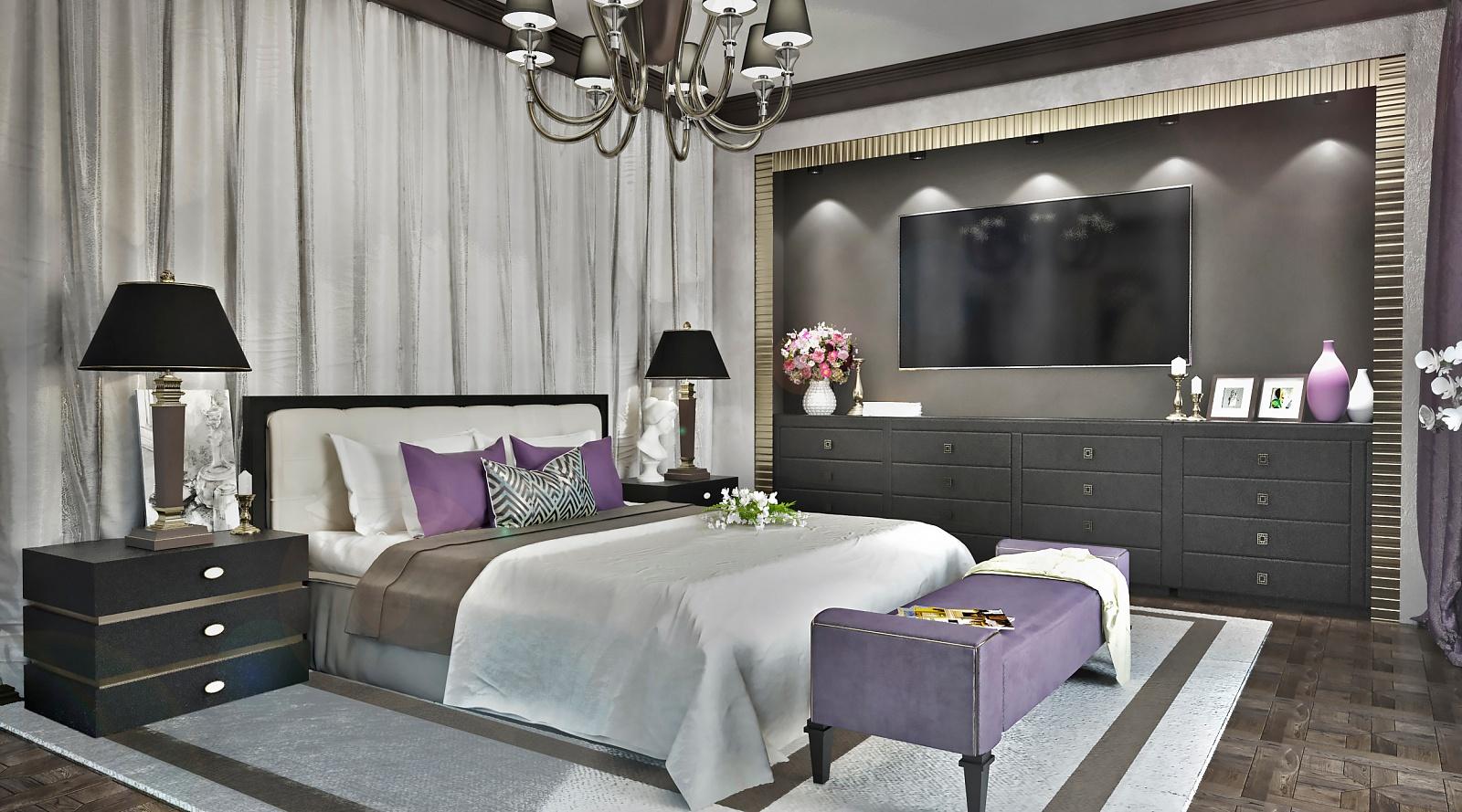 Кровать с лампами на тумбочках