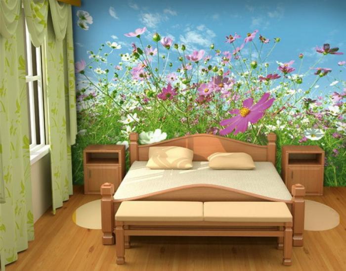 Обои с цветочным мотивом на всю стену