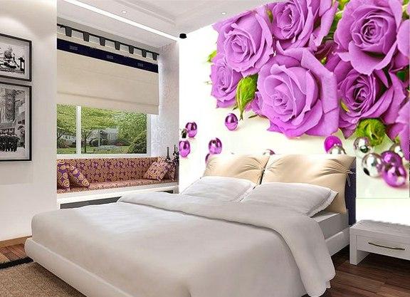 Дизайн спальни с обоями 3D
