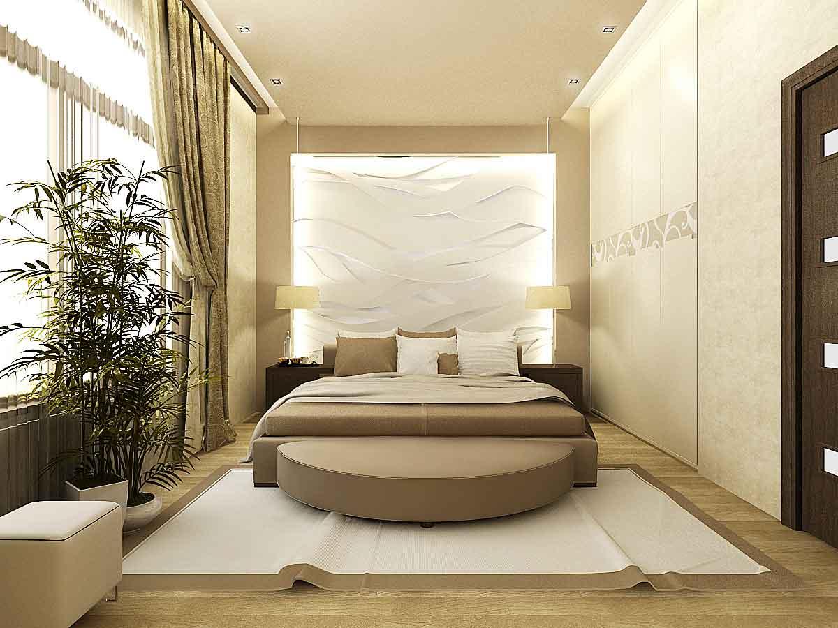 Узкая спальня в бежевом цвете