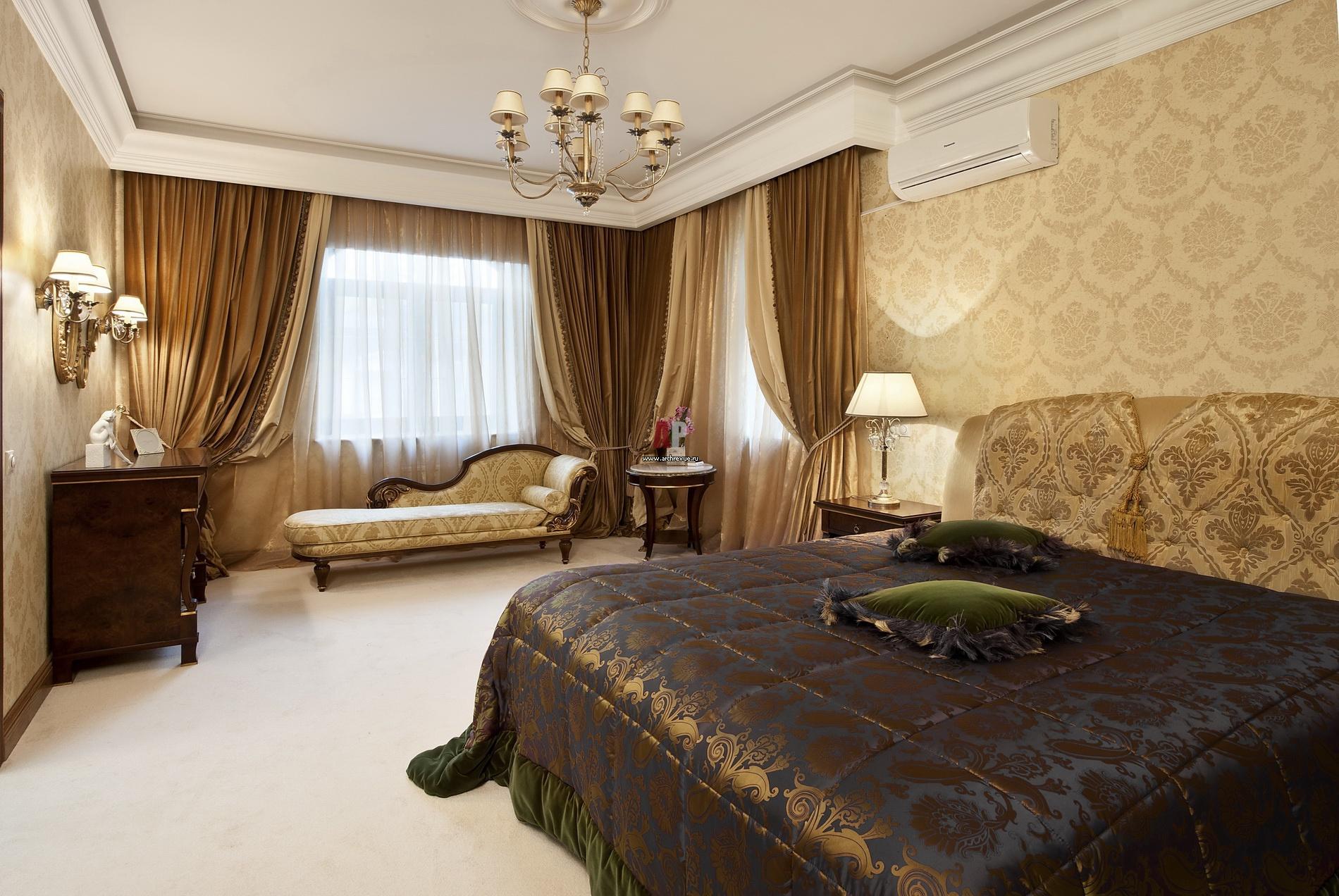 Дизайн интерьера с темной кроватью