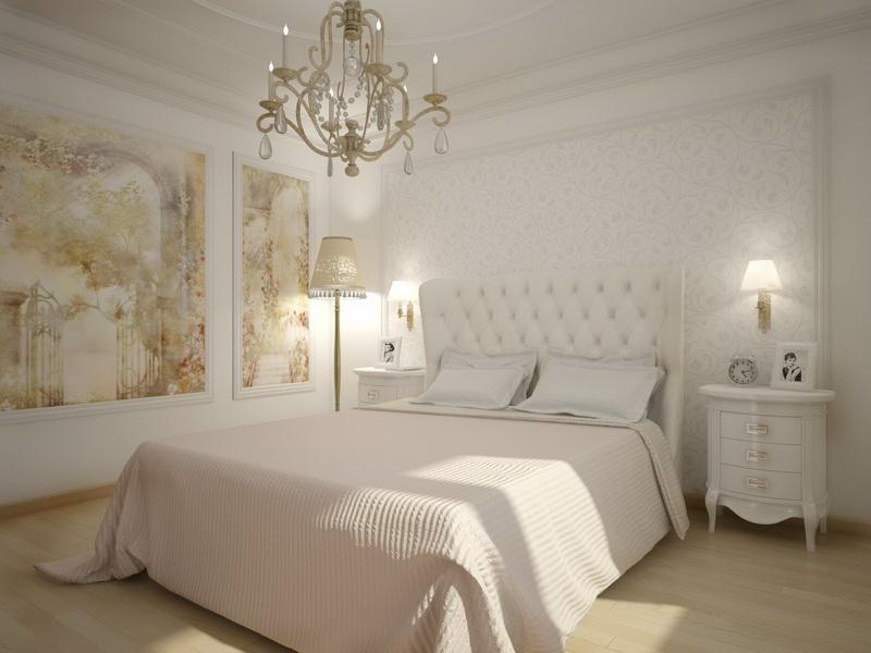 Белая спальня в классическом стиле