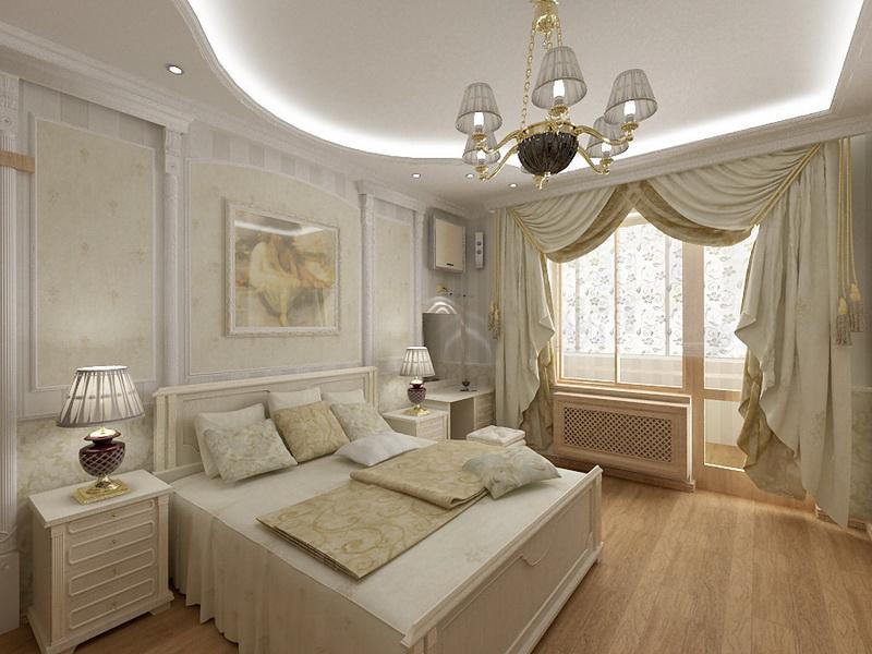 Спальня в светлых тонах с богатой люстрой