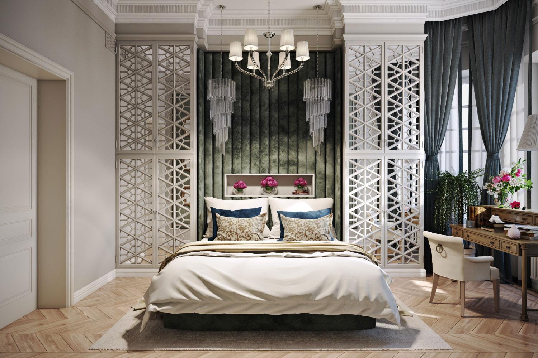 Интерьер спальни в классическом стиле с люстрой