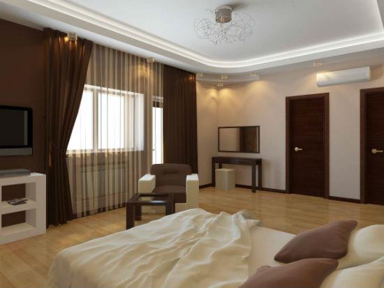 Темные массивные шторы для просторных спален