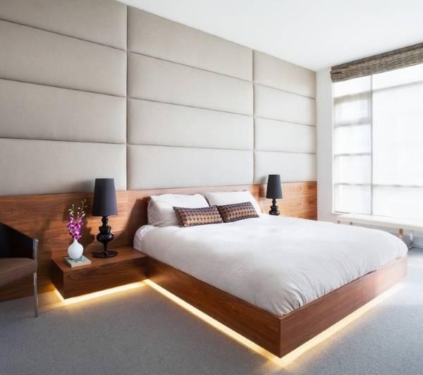 Нижняя подсветка на кровати и тумбочках