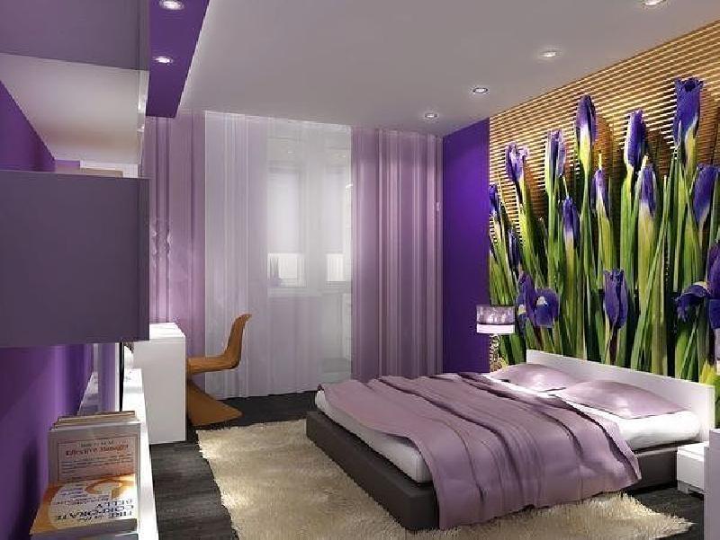 Фотообои в сиреневом интерьере спальни