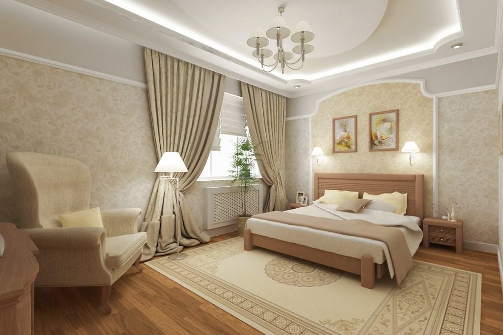 Просторная спальня с люстрой