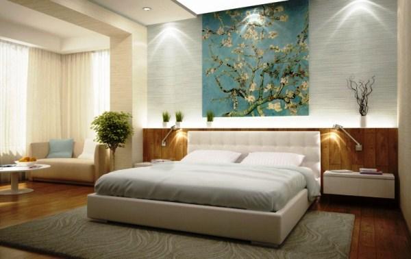 Ветка сакуры в интерьере спальни
