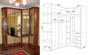 Шкаф для спальни углового типа
