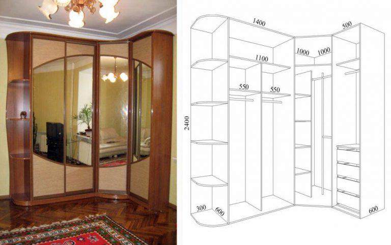 Дизайны угловых шкафов купе в спальню