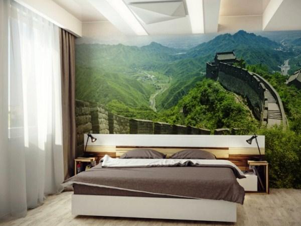 Горный пейзаж в спальне