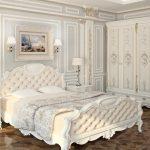 Белые тона спальни в стиле барокко
