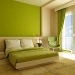 Бледный зеленый цвет для оформления интерьера спальни