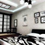 Черно-белая спальня в японском стиле интерьера