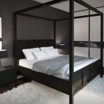 Черный тон для дизайна современной спальни