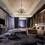 Черный цвет для просторной спальни