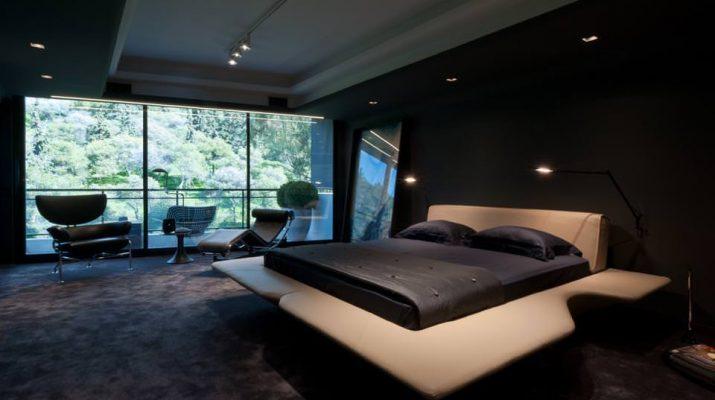Элегантная черная спальня