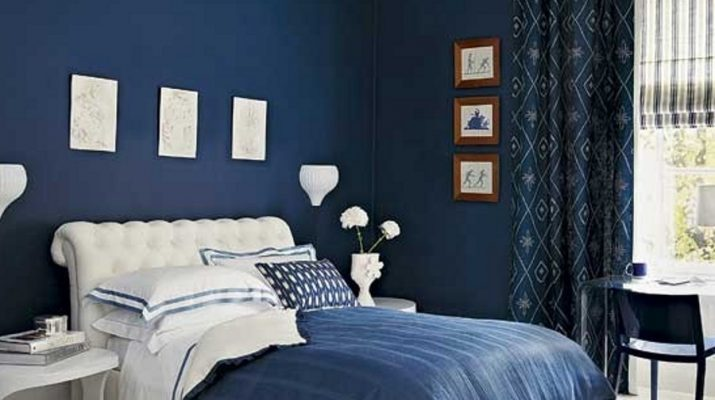 Фото синей спальни