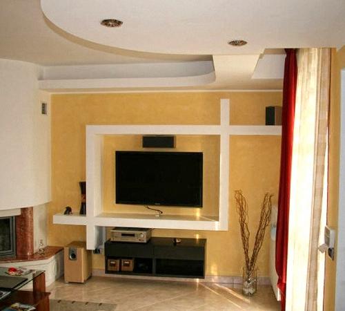 Стена под телевизор дизайн из гипсокартона