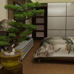 Идея оформления просторной спальни в японском стиле