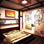 Интерьер в японском стиле, созданный в спальне
