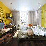 Интерьер в желтом цвете для спальни