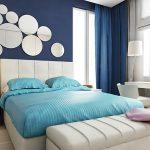 Использование синего цвета в спальне