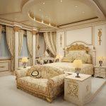 Красивое оформление интерьера спальни в стиле ампир