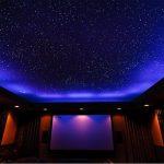 Красивое звездное небо на синем фоне в спальне