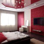 Красные тона для офоромления спальни